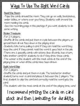 Sight Word Activities - Pirate Themed