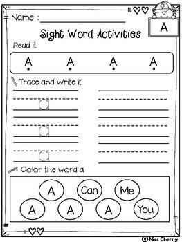 Sight Word Activities Pre Primer