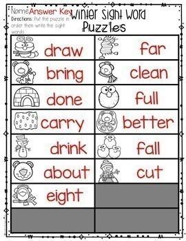 Sight Word Activities | Sight Word Puzzles MEGA Bundle