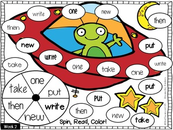 Sight Word Activities! Spin, Read, Color! {EDITABLE}