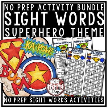 Sight Words Activities 1st Grade [Superhero Theme]