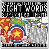Sight Words Activities 1st Grade- Superhero Theme Sight Words Worksheets