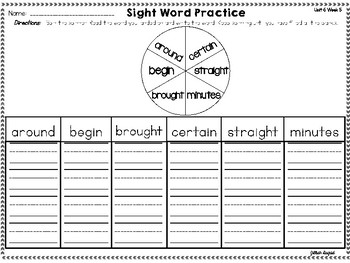 First Grade Sight Word Activities ~ Unit 6 Texas Treasures