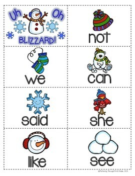 "Sight Word Activities ""Winter Wonderland"" - 100 Sight Words Reading Game"