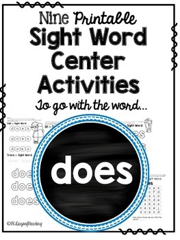 Sight Word Activities for the word {does}
