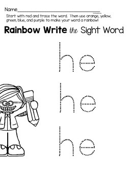 Sight Word Activities for the word {he}