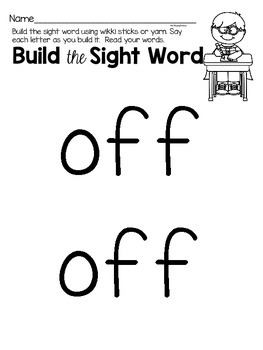 Sight Word Activities for the word {off}