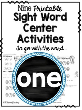 Sight Word Activities for the word {one}