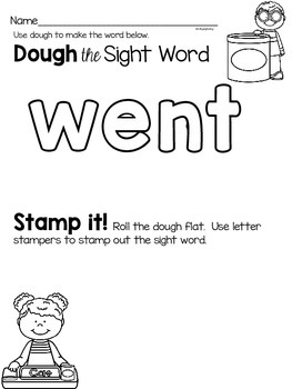 Sight Word Activities for the word {went}