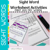Sight Word Worksheets BUNDLE First 200 FRY Words