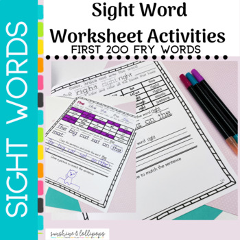 Sight Word Activity BUNDLE: First Fry 200 Sight Words
