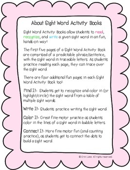 "Sight Word Activity Book: ""Are"""