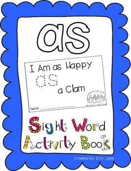 """Sight Word Activity Book: """"As"""""""