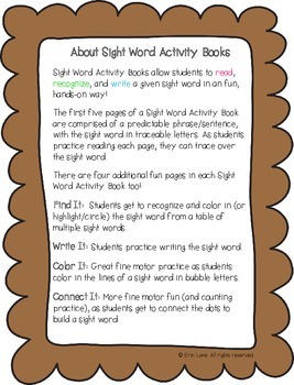 """Sight Word Activity Book: """"Ate"""""""