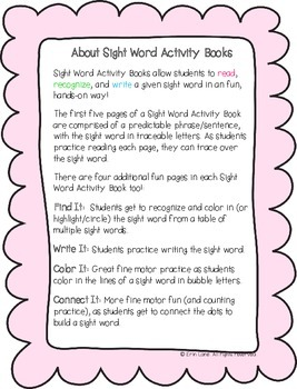 """Sight Word Activity Book: """"For"""""""
