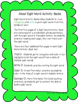 "Sight Word Activity Book: ""Look"""