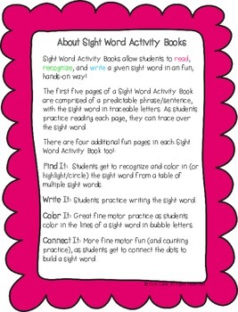 """Sight Word Activity Book: """"Me"""""""