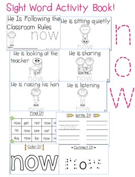 "Sight Word Activity Book: ""Now"""