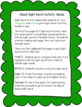 "Sight Word Activity Book: ""Our"""