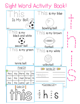 """Sight Word Activity Book: """"This"""""""