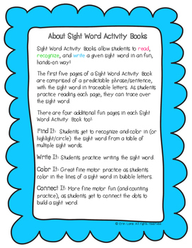 "Sight Word Activity Book: ""Want"""
