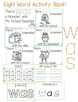 "Sight Word Activity Book: ""Was"""