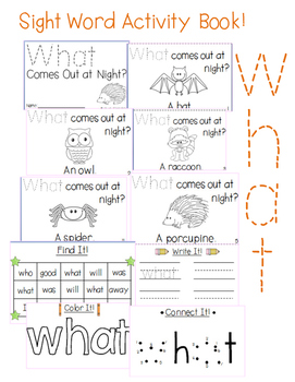 """Sight Word Activity Book: """"What"""""""