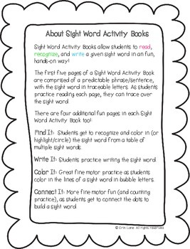 """Sight Word Activity Book: """"White"""""""