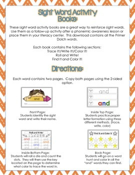 Sight Word Activity Books (Primer)