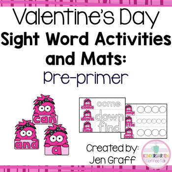 Sight Word Activity Cards and Mats (Pre-Primer): Valentine's Day