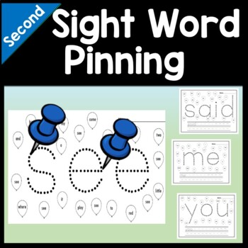 Second Grade Sight Words with Pins and Paper {46 words!}