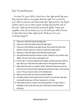 Sight Word Activity Letter (for parents)