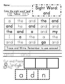 Sight Word Activity Pack 1- Read It, Identify It, Trace It, Write It, Spell It