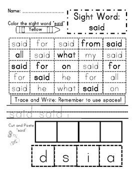 Sight Word Activity Pack 2- Read It, Identify It, Trace It, Write It, Spell It