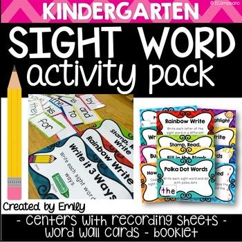 Sight Words - Kindergarten Word Work