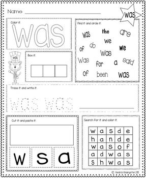 Sight Word Activity Pack Set 2