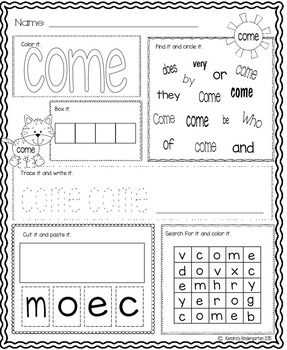 Sight Word Activity Pack Set 3