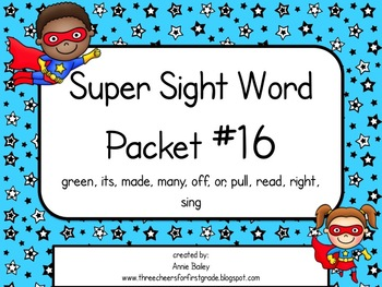 Sight Word Activity Packet #16
