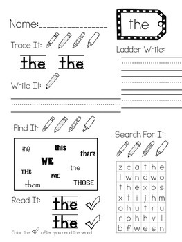 Fry Sight Word Activity Pages: First 50