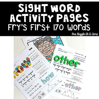 Sight Word Activity Pages (Fry's First 170 Words)