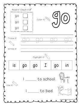 Sight Word Activity Pages (Pre-Primer Dolch List)