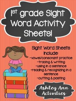 Sight Word Activity Sheets- 1st grade