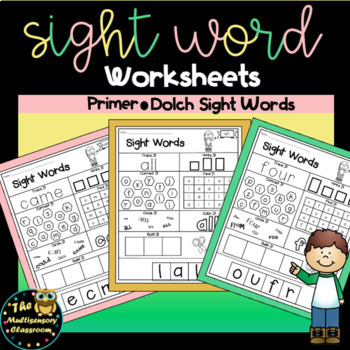 Sight Word Activity Sheets: Dolch Sight Words (Primer Edition)