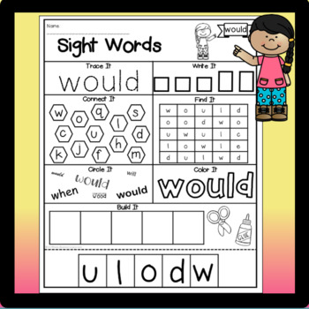 Sight Word Activity Sheets: Dolch Sight Words (Second Grade Edition)