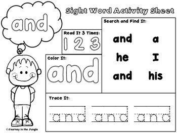 Sight Word Activity Sheets (Pre-Primer)
