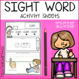 Sight Word Activity Sheets Pre Primer and Primer Activitie