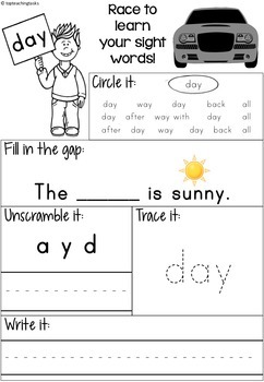 High Frequency Sight Word Activity Sheets Practice for Reception UK