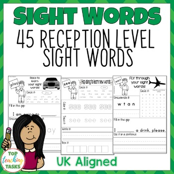 High Frequency Sight Word Activity Sheets for Reception UK
