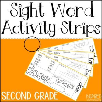 Sight Word Activity Strips: Second Grade Words