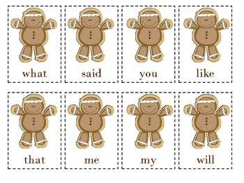 Sight Word & Alphabet Gingerbread Game/Cards